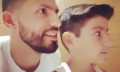 KUn aguero y su hijo benjamin