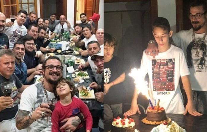 Daniel Osvaldo reunió a sus hijos varones